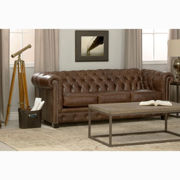 Hancock Tufted Brown Leather Chesterfield Sofa Free Shipping Today