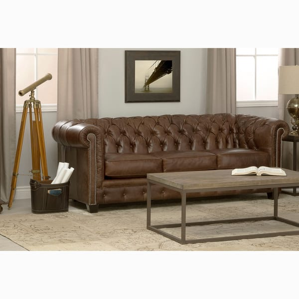 Fabulous Shop Hancock Tufted Brown Leather Chesterfield Sofa On Spiritservingveterans Wood Chair Design Ideas Spiritservingveteransorg