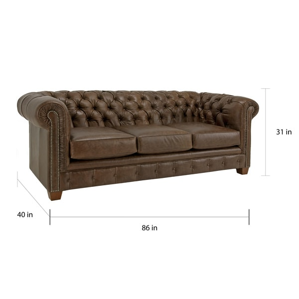 Hancock Tufted Distressed Brown Italian Chesterfield Leather Sofa   Free  Shipping Today   Overstock.com   14678640