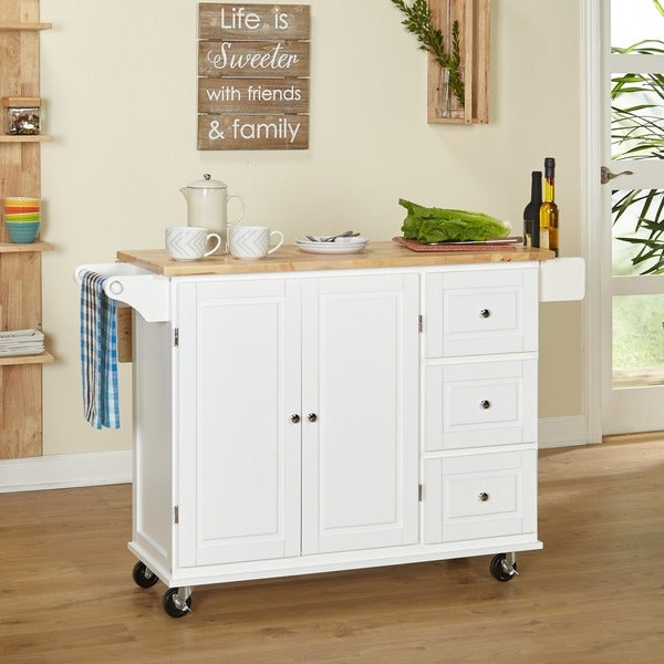 Simple Living Aspen 3-drawer Spice Rack Drop Leaf Kitchen Cart