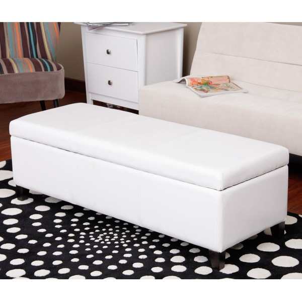 Warehouse of Tiffany Sharon White Faux Leather Storage Bench