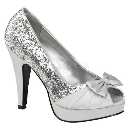 Pin Up Women's Bettie 10 Silver Glitter/Satin
