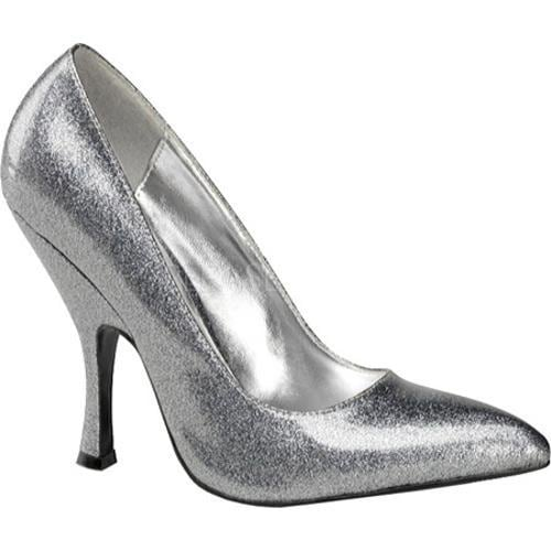 Women's Pin Up Bombshell Silver Pearlized Glitter Patent Leather
