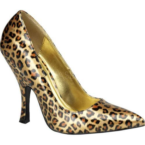 Women's Pin Up Bombshell 01 Gold Cheetah Patent Leather