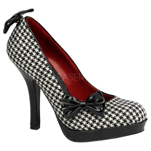 Women's Pin Up Secret Houndstooth Fabric/Black Patent Leather