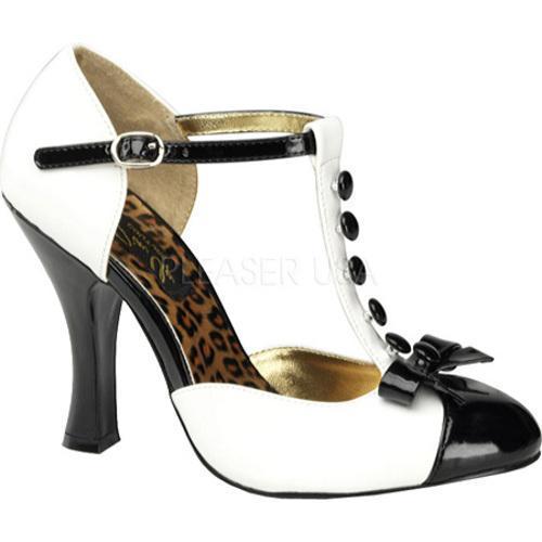 Women's Pin Up Smitten 10 White/Black Patent Leather