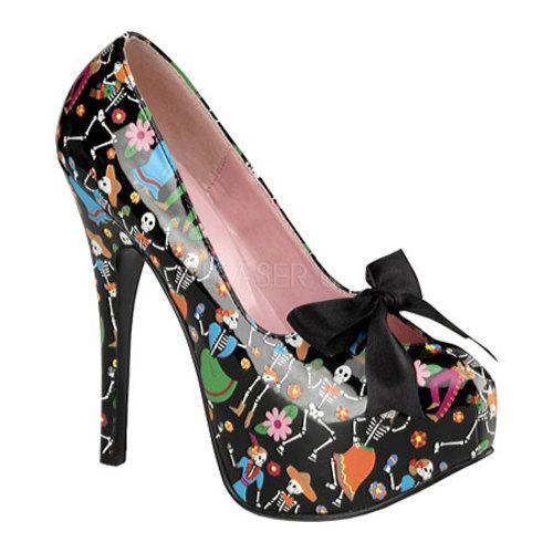 Women's Pin Up Teeze 12-4 Black Muertos Patent Leather