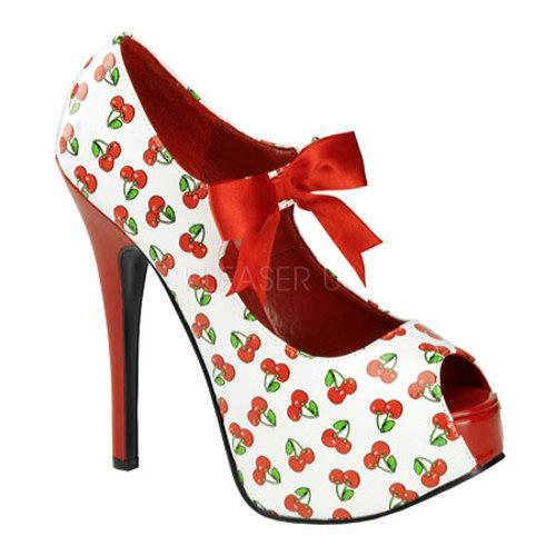 Women's Pin Up Teeze 25-3 White/Red Cherry Patent Leather