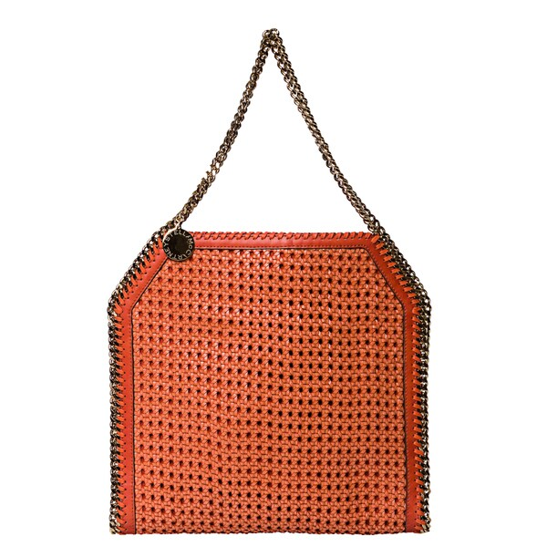 Stella McCartney Orange Woven Faux Leather Tote Bag