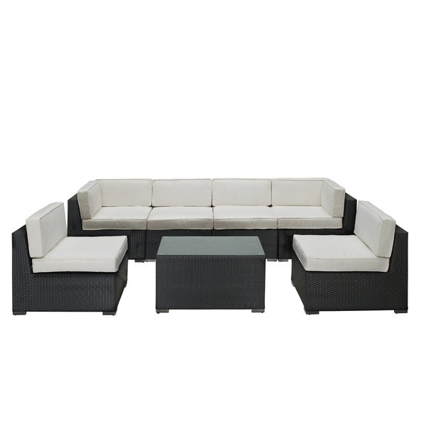 discount outdoor sectional sofas aero outdoor wicker patio 7 piece sectional sofa set in espresso  sc 1 th 225 : discount patio sectional - Sectionals, Sofas & Couches