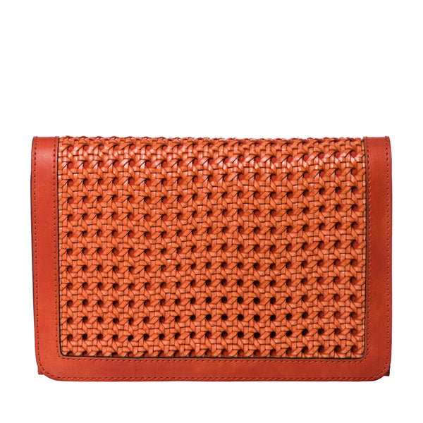 Stella McCartney Orange Woven Faux Leather Cross-body Bag