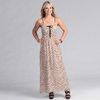 Institute Liberal Chiffon Maxi Dress in Pink Abstract Print