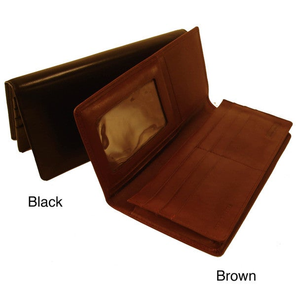 Bond Street Women's Calf Leather Deluxe Secretary Wallet