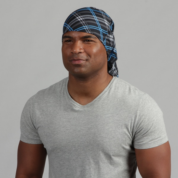Obersee Adult Blue and Black Plaid 'Rag Tops' Convertible Headwear