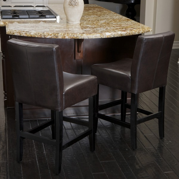Lopez Brown Leather Counterstools (Set of 2) by Christopher Knight Home