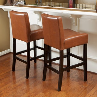 Link to Lopez 26-inch Hazelnut Leather Counterstools (Set of 2) by Christopher Knight Home Similar Items in Dining Room & Bar Furniture