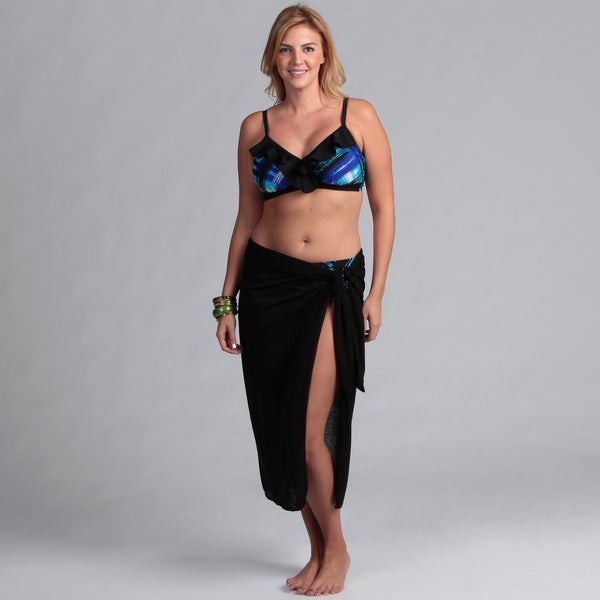 Swim by Chuck Handy Women's 2-Piece Ruffle D-Cup Bikini Pareo