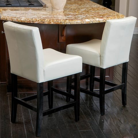 Lopez 26-inch Ivory Leather Counter Stools (Set of 2) by Christopher Knight Home