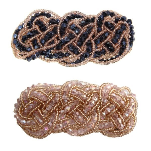 Beaded Barrette in Blue or Pink (China)