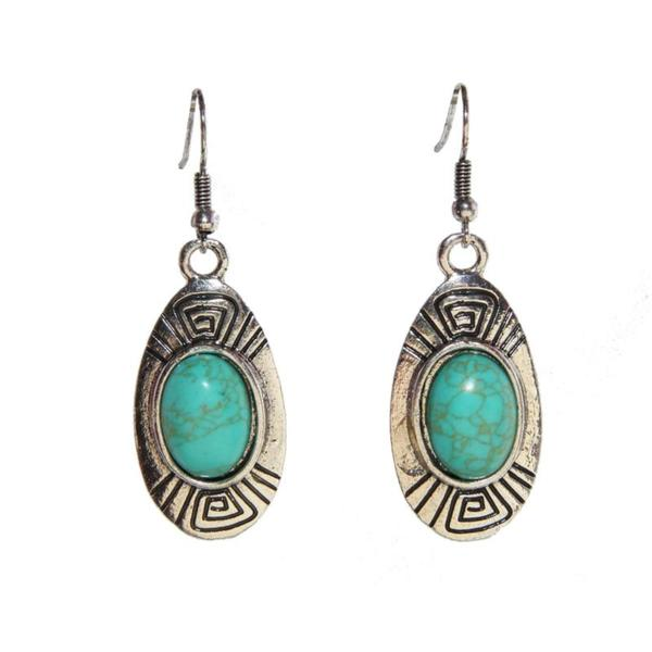Oval Turquoise Earrings (China)