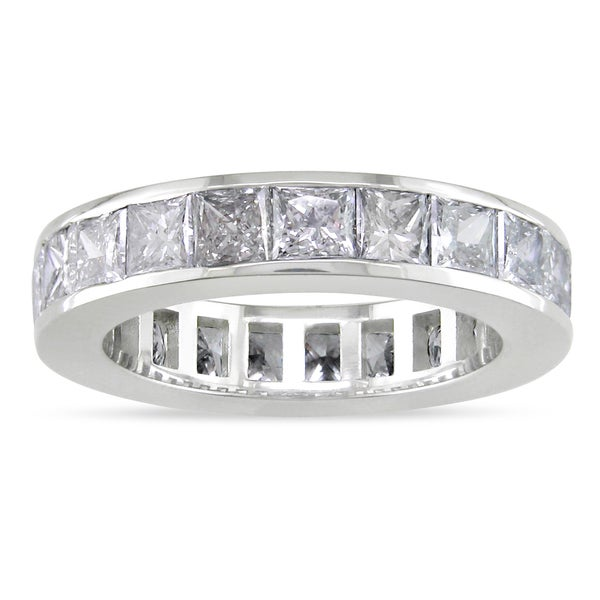 Miadora 18k White Gold 4ct TDW Diamond Full Eternity Ring (G-H, I1-I2)
