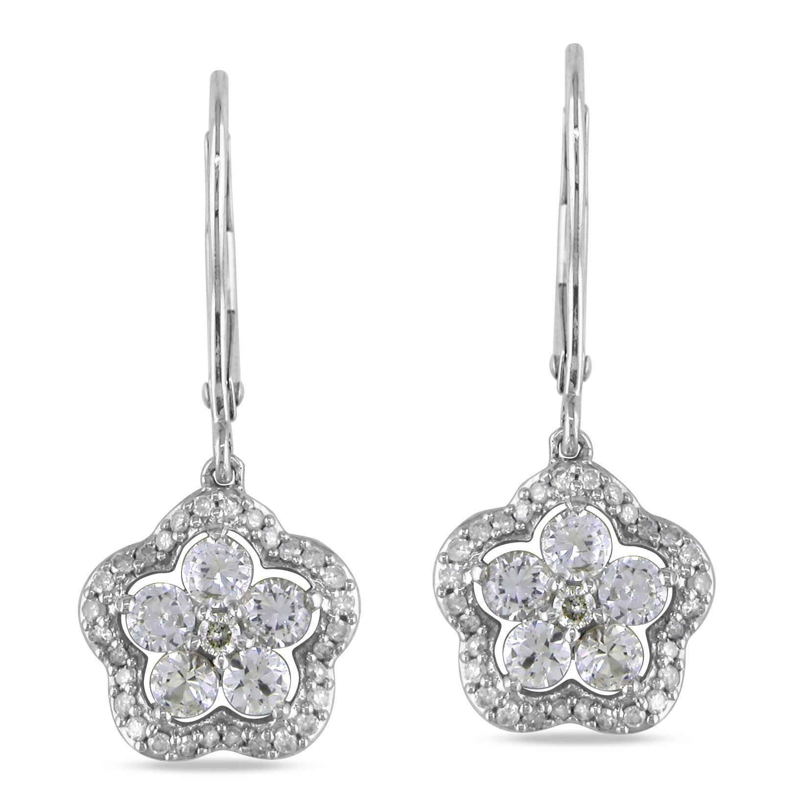 Miadora 14k Gold Created Sapphire and 1/5ct TDW Diamond Earrings (G-H, I1-I2)