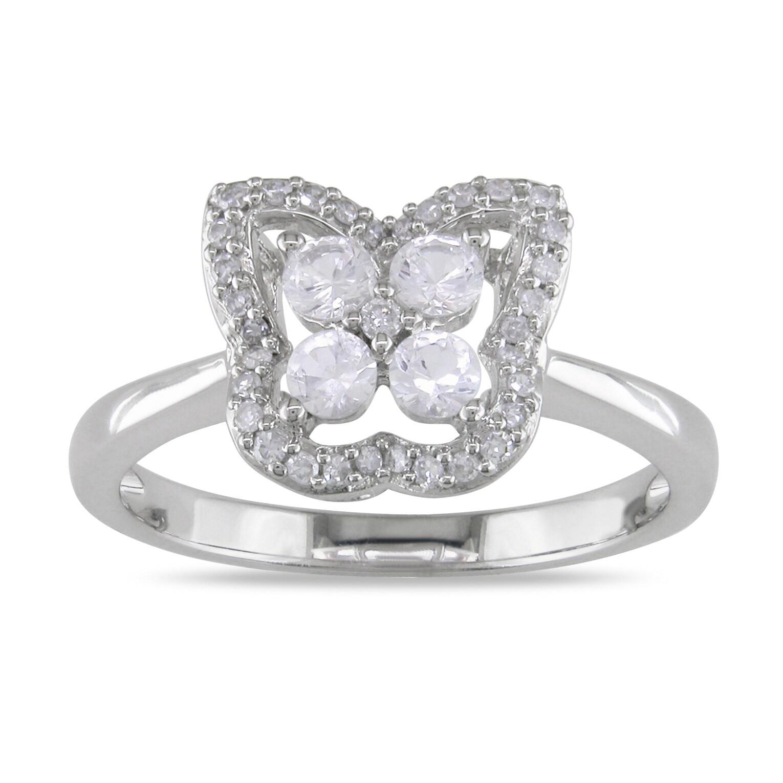 Miadora 14k Gold Created Sapphire and 1/8ct TDW Diamond Ring (G-H, I1-I2)
