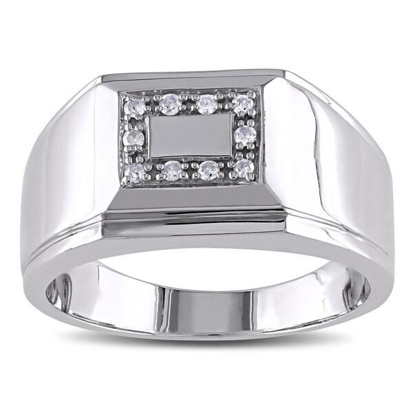 Miadora Sterling Silver 1/10ct TDW Men's Diamond Ring
