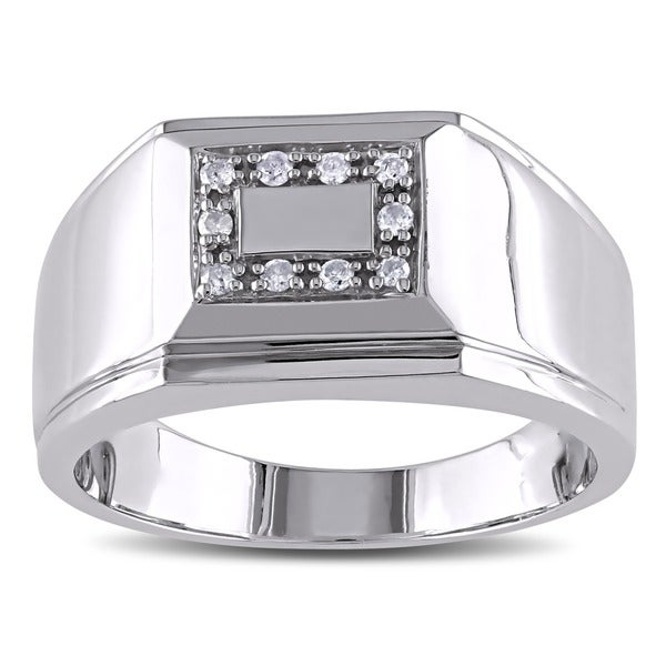 Miadora Sterling Silver 1/10ct TDW Men's Diamond Ring