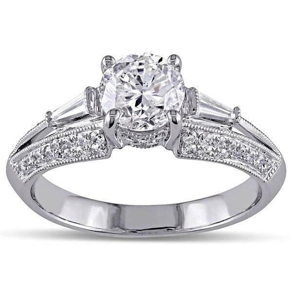 Miadora Signature Collection 14k White Gold 1 1/2ct TDW Taper Baguette Diamond Ring (G-H, I1-I2)