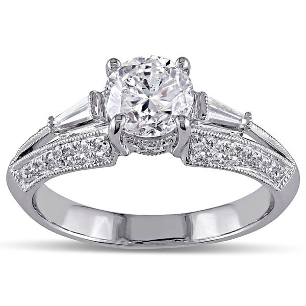 Miadora Signature Collection 14k White Gold 1 1/2ct TDW Taper Baguette Diamond Ring (G-H, I1-I2)