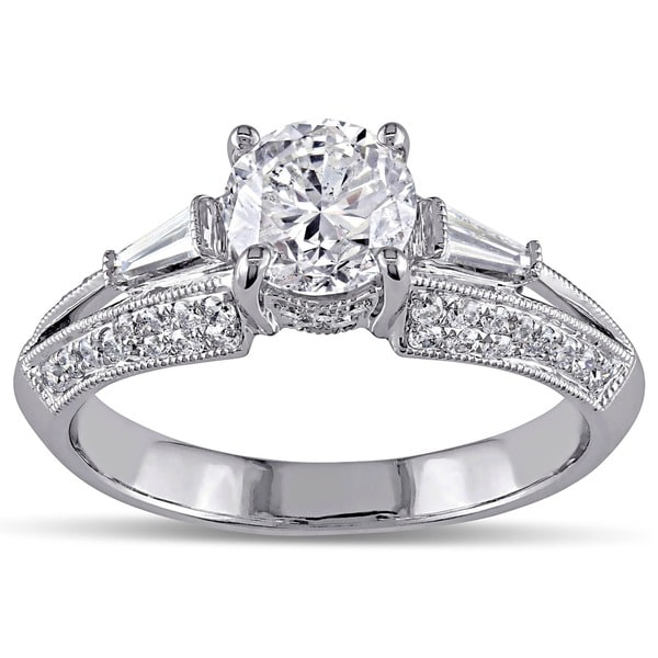 Miadora Signature Collection 14k White Gold 1 1/2ct TDW Taper Baguette Diamond Ring
