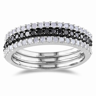 Miadora Sterling Silver 5/8ct TDW Black and White Diamond Ring Set