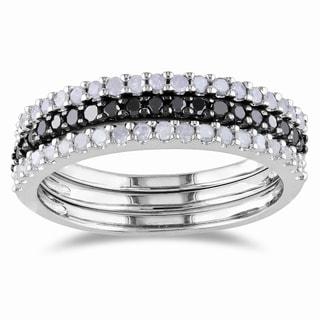 Miadora Sterling Silver 5/8ct TDW Black and White Diamond Ring Set (H-I I2-I3)