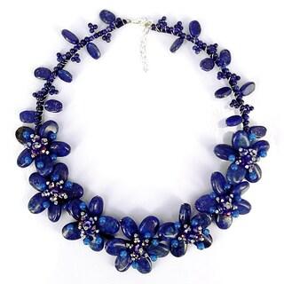 Handmade Eternal Blue Garden Lapis Lazuli Floral Necklace (Thailand)