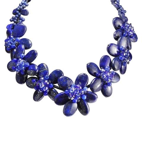 Handmade Eternal Blue Garden Lapis Floral Necklace (Thailand)