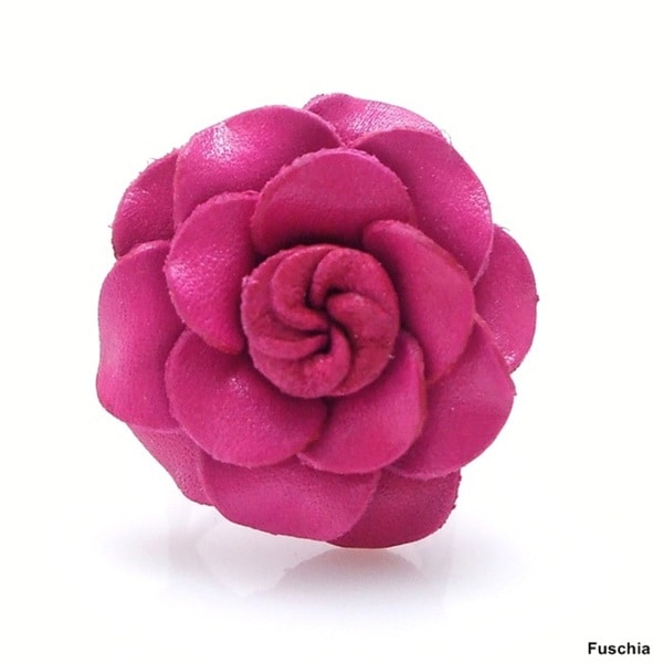 Handmade Grandiflora Rose Genuine Leather Free Size Ring (Thailand)