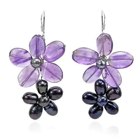 Handmade Sweet Daisy Links Pearl Earrings (Thailand)
