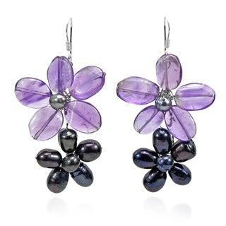 Handmade Sweet Daisy Links Pearl Earrings (Thailand) - purple-black