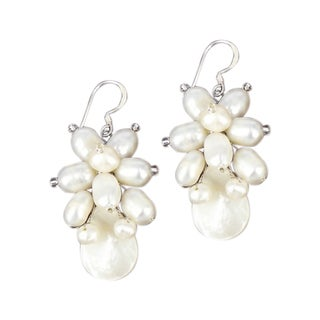 Handmade Chic Floral Star Freshwater Pearl Earrings (Thailand)