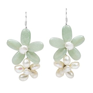 Handmade Sweet Floral Connections Natural Stone Earrings (Thailand)