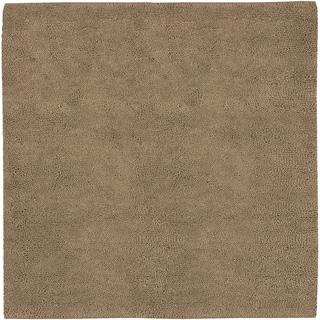 Hand-woven Basalt Tan Wool Rug (8' Square)