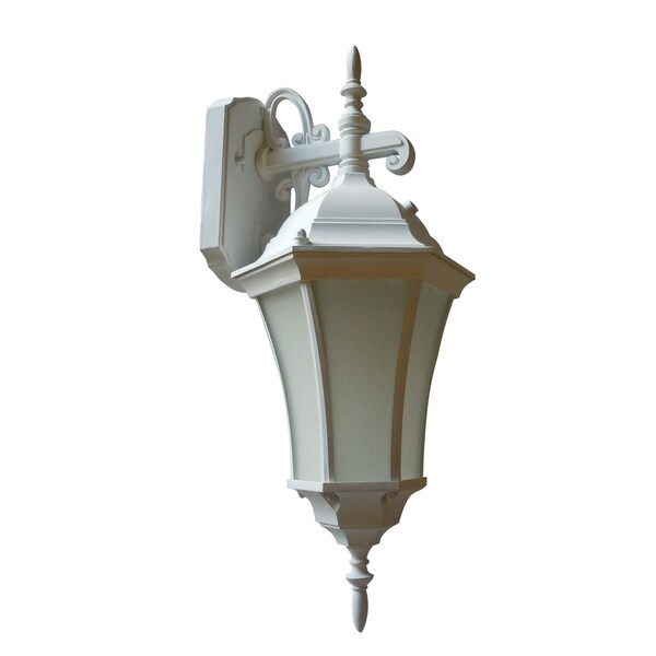 Frosted 1-light White Wall Lantern with Photo Cell