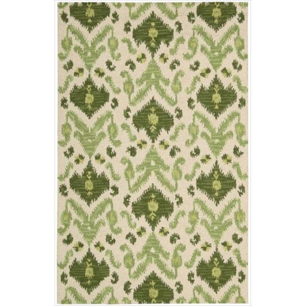Nourison Hand-tufted Siam Green/ Ivory Rug (5'6 x 7'5)