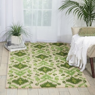 Nourison Hand-tufted Siam Green/ Ivory Rug (3'6 x 5'6)