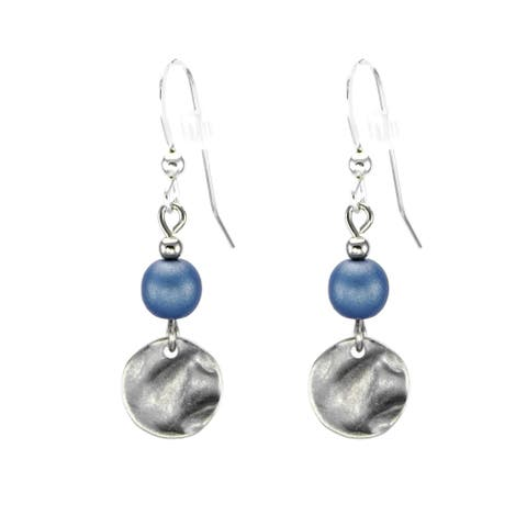 Handmade Jewelry by Dawn Blue With Small Pewter Hammered Drop Earrings (USA)