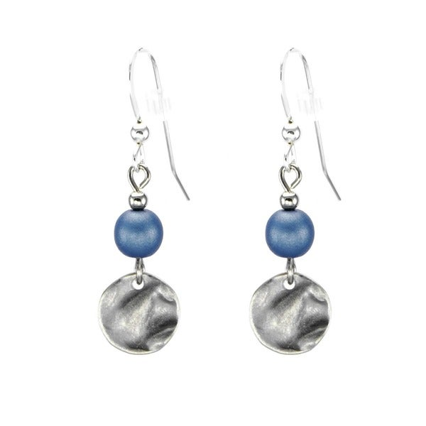 Handmade Jewelry by Dawn Blue With Small Pewter Hammered Drop Earrings