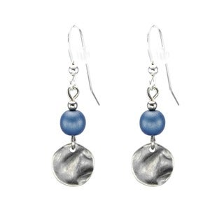 Jewelry by Dawn Blue With Small Pewter Hammered Drop Earrings