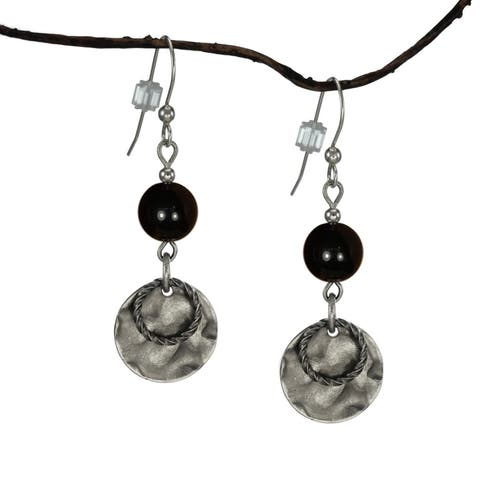 Handmade Jewelry by Dawn Black With Hammered Double Drop Earrings (USA)