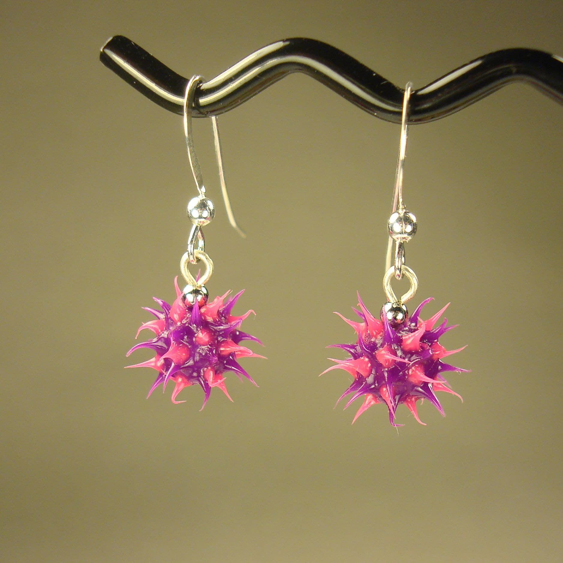 Jewelry by Dawn Purple And Pink Rubber Spike Earrings